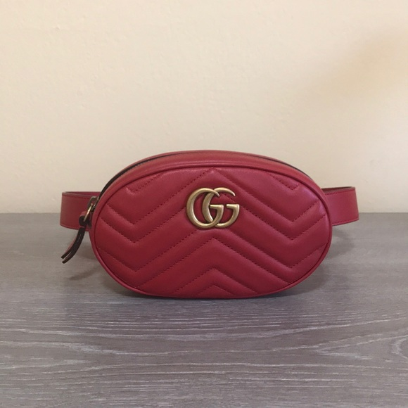 616d19e40224 Gucci Marmont Belt Bag (Red